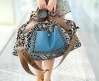 Retro rivet satchel canvas and leather ethnic bag shoulder cross-body bags vintage satchel hot sell lady bag wholsale A51
