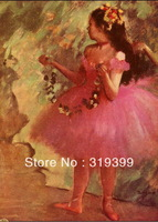 Oil Painting Reproduction on Linen Canvas,Dancer in pink dress by Edgar Degas,Free DHL Shipping,handmade,Top Quality
