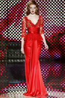 ED088 Fashion off should long sleeve red evening dress