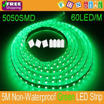 Wholesales! 5M 5050SMD 60LEDs/M 300LEDs Non-Waterproof Flexible Green Color LED Strip DC12V Led Ribbon Free Shipping