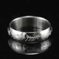 Size 5/6/7/8/9/10/11 The Lord of the Rings White Stainless Steel Band Ring Wedding LOTR Ring Width 6mm Gift