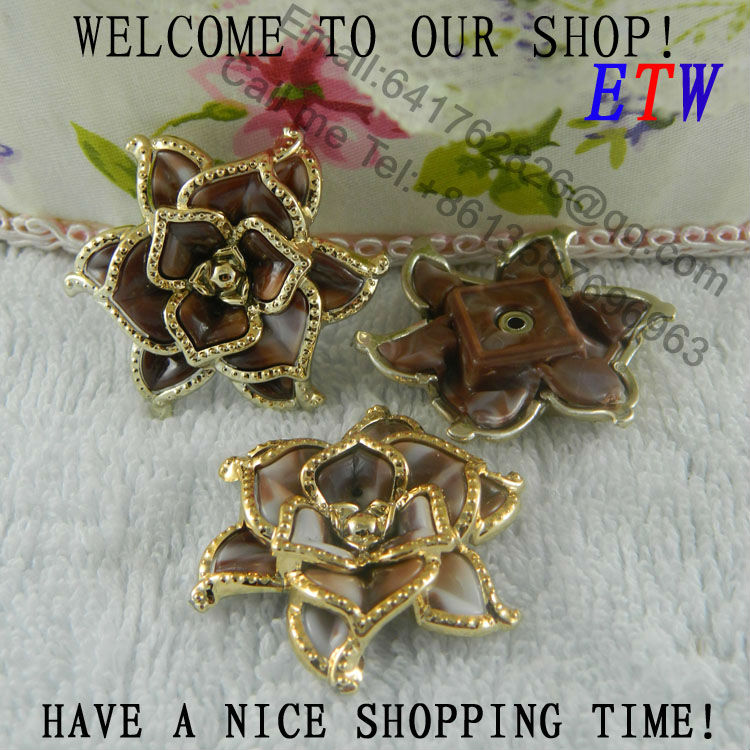 Free shipping 38mm Brown Plastic Flower With Plant Gold Color 50pcs/lot Fashion Accessory For Hair Shoes Bag(China (Mainland))