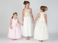 Free Shipping Beautiful A-Line Halter Gauze Ankle-length Bowknot Flower Girls Dresses For Weddings 2013 New Arrival CH2386