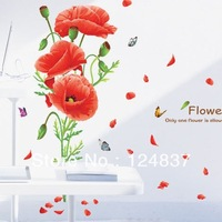 60cm*90cm Girl flower Wall Stickers rose sticker butterflies wallpaper Flying petals poster home decor decoration