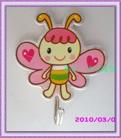 Free shipping Small bee strong adhesive hook adhesive hook cartoon adhesive hook pink  20 pcs / lot