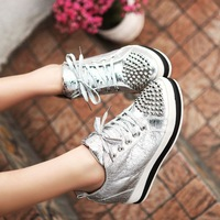 Spring and autumn elevator skateboarding shoes platform women's platform shoes lacing rivet pointed toe single shoes ski98 78