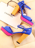 Free Shipping 13 new FE.D of the same paragraph spell color thick with  foot ring strap women's sandals super high heels