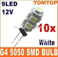 Free Shipping G4 Base 9 SMD Marine 5050 LED Light Bulbs Home Lamp interior lighting AC/DC 12V White 3000K-6500K