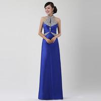 halter-neck  long design slim the show evening dress full dress female bridal evening