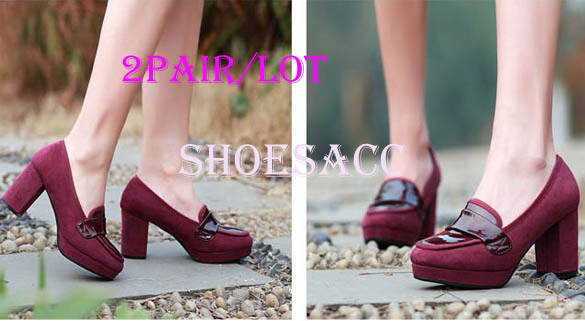 NEW HOT! 2PAIR/LOT FASHION Western Elegant Women&#39;s Round Toe Platform Pumps Rough Heels Shoes FREE SHIPPING 13807(China (Mainland))