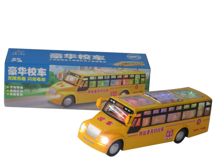 Electric school bus music car toy car automatic electric toy flash music car