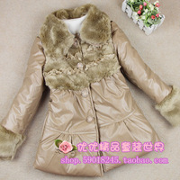 Winter girls clothing - elegant slim windproof soft clip cotton-padded coat water washed leather clothing