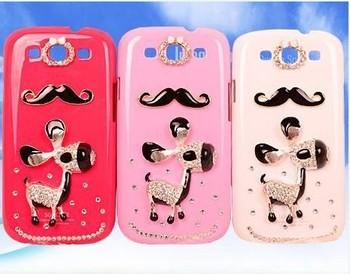 3D burro moustache beard Diamond Crystal Case Back Cover for Samsung Galaxy i9300 S3 1pcs+1pcs Dust Plug