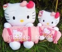 hello kitty plush blanket toys stuffed 25cm KT toys with 90cm x 65cm blanket 20pcs/lot free shipping