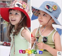 Free shipping in 2013 han edition pentagram design children's hats on both sides can wear a sun hat adjustable summer fashion