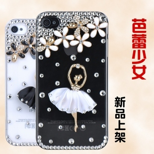 Ballet young girl phone case for apple for iphone 4 rhinestone phone case iphone4(China (Mainland))