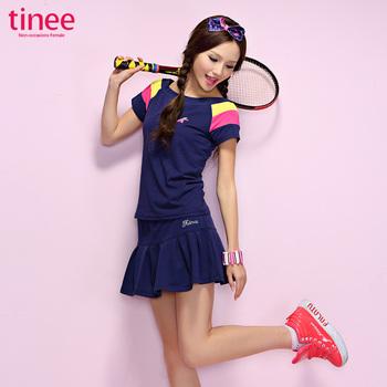 Summer short-sleeve tinee T-shirt women's plus size loose basic shirt tennis ball dress short skirt casual sports set