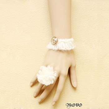 Gothic White exquisite gentlewomen lace female wristband bracelet with ring