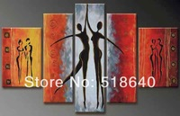 Wall Hunging Combinative Canvas Oil Painting Impressionist Red Dancing Abstract Picture Decoration pt190