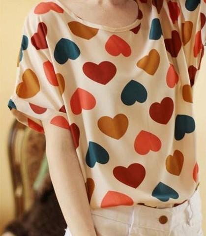 Printed Chiffon short-sleeved T-shirt the bat shirt blouse chiffon shirt