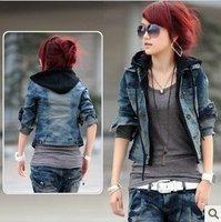 2014 autumn and winter coat  jacket long-sleeve denim outerwear short jacket female women coat jackets women plus size