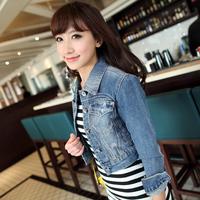 Women's denim coat short design denim outerwear female long-sleeve short jacket female denim top women's jacket jeans jacket