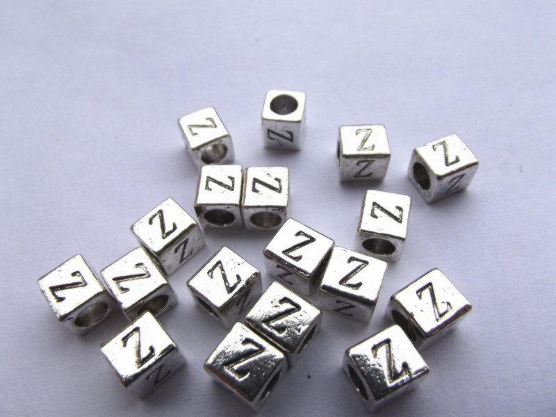 1030pcs Silver letter Z Square Alloy Beads European beads Charms Big Hole Lampwork Glass Beads(China (Mainland))