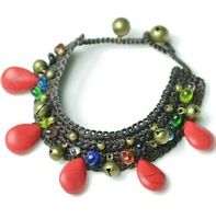 Thailand Bohemia Style Red Turquoise Colored Glaze Handmade Knitted Wide Chain Anklet for Elegant Lady Free Shipping