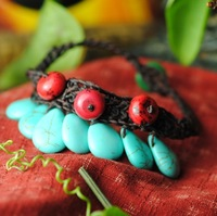 Simple Fresh Thailand Style Waterdrop Turquoise Knitted Wide Chain Anklets for Elegant Lady Free Shipping