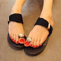Free Shipping Rhinestone toe-covering lace gauze stuffies fashionable casual female slippers
