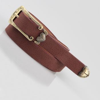 Peach heart vintage thin belt female carved women's genuine leather belt decoration belt