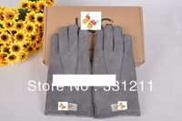 free shipping, best geniune sheepskin leather with fur australia brand warm winter grey color gloves!