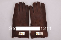 free shipping, best geniune sheepskin leather with fur australia brand warm winter brown color gloves!
