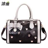 Muyu female bags 2013 women's handbag bow BOSS bucket polka dot handbag 30222