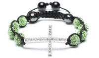 8 bead + cross Shamballa jewelry Wholesale green Hip Hop Cross Beads Shamballa Bracelet bangle GY435