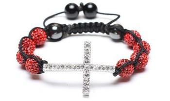 8 bead + cross Shamballa jewelry Wholesale red Rhinestone Crystal Hip Hop Cross Beads Shamballa Bracelet bangle DF622