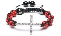 8 bead + cross Shamballa jewelry Wholesale red Rhinestone Crystal Hip Hop Cross Beads Shamballa Bracelet bangle DF622