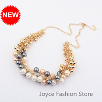 Min Order $10,2013 Statement Necklace Chunky Korean Style Pearl Necklace,Exaggerated Gold Plated Necklaces,N61