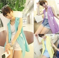 2014 spring summer women's spring and autumn casual chiffon slim candy color suit vest outerwear