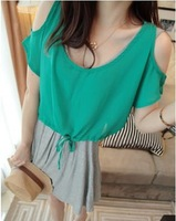 2014 spring one-piece dress women's strapless chiffon twinset one-piece dress female