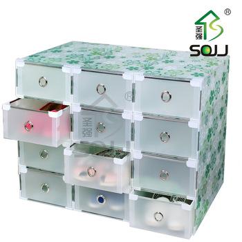 Plastic storage containers drawers, Thickening transparent shoebox metal drawer hemming plastic shoe storage box