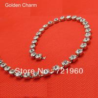 Golden charm SS29(6.1mm-6.3mm)   ASFOUR 888 crystal  rhinestone 65#brass  chain sitting silver