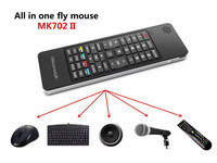 All in one device,2.4G Qwerty wireless keyboard+Air fly mouse+IR remote+Audio Chat,build in speaker and Microphone(China (Mainland))