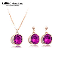 Hot sale T400 made with Austrian crystal Necklace&earring jewelry set,,for women,Purple pendant jewelry set#WT9005,free shipping