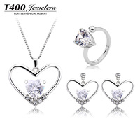 Christmas party supplies woman T400 Heart jewelry set crystal bijouterie kit Necklace earring ring#WT9004 free shipping