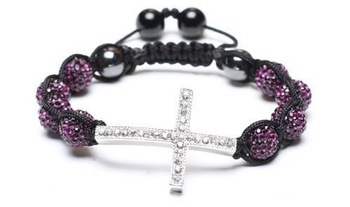 8 bead + cross Shamballa jewelry Wholesale purple Hip Hop Cross Beads Shamballa Bracelet bangle G1455g