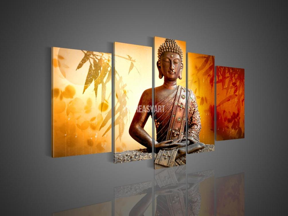 5 Panel Wall Art Religion Buddha Oil Painting On Canvas Palette Knife Kitchen Pictures Decor(China (Mainland))