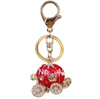 Zinc Alloy Rose Gold Plated Rhinestone Keychains Pumpkin Shape KC007