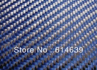 3K carbon and 1500D Kevlar hybrid fabric twill weave  200g/sqm,width1m, Blue,Hot sale