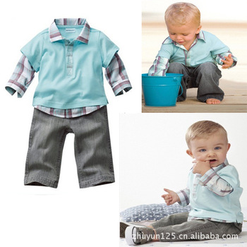 2013 New Arrival Free Shipping Plaid Turn-Down Collar Long Sleeves T shirt Long Pants Baby Child Suit Children Clothes